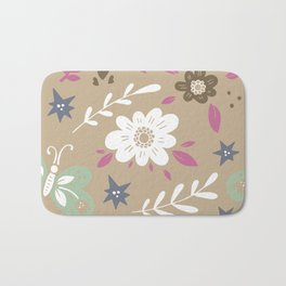 Flowers and butterflies In Brown Pattern Bath Mat