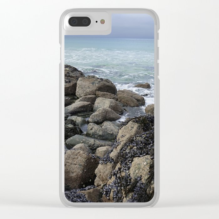 Waves Crashing on Seaweed Covered Rocks Clear iPhone Case