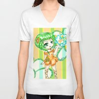 vocaloid V-neck T-shirts featuring Gumi CHIBI FANART  by jannaj