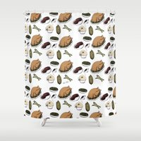 thanksgiving Shower Curtains featuring A Tasty Thanksgiving Print by CHAR ODEN