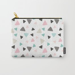 Geometrical pastel color triangles polka dots pattern Carry-All Pouch