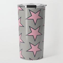 Stars pattern pink on grey Travel Mug