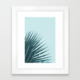 Blue Palm Leaf Framed Art Print
