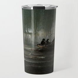 The Northern Lights over Four Men in a Rowboat by Peder Balke Travel Mug