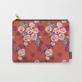 Painty Roses Burnt Orange Carry-All Pouch