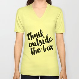 Think Outside The Box, Typography Print, Typography Art, Minimalist Poster, Simple Unisex V-Neck