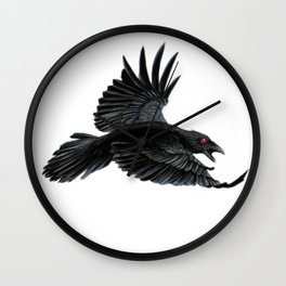 Black Crow Red Eyes Wall Clock
