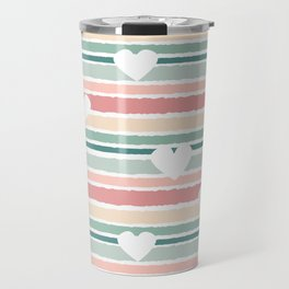 cute lovely horizontal striped pattern background with hearts Travel Mug