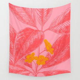 Modern Botanical Leaves in Pink Wall Tapestry