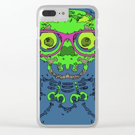 green funny skull art portrait with pink glasses and blue background Clear iPhone Case