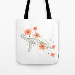 Floral Whale Tote Bag