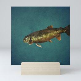 Trout on Teal Blue Mini Art Print