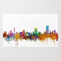 south africa Area & Throw Rugs featuring Pretoria South Africa Skyline by artPause