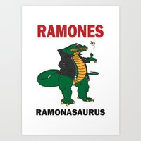 ramones Art Prints featuring Ramonasaurus  by Christopher Chouinard