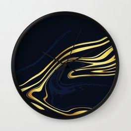 Blue And Gold Marble Wall Clock