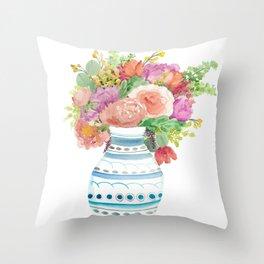 Bustin' Bouquet Throw Pillow