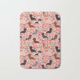 Dachshund dog breed floral pure breed weener dogs doxie dachsie must have Bath Mat