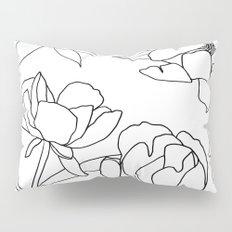 Roses, Black Line Drawing on White Pillow Sham