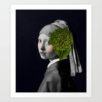 Tribute to Johannes Vermeer with botanical twist Art Print