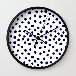 Mini dots painterly brushstrokes boho modern indigo blue and white preppy nautical dorm college art Wall Clock