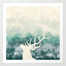 Oh Deer Green Art Print