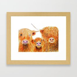 HIGHLAND COWS ' WE 3 COOS ' BY SHIRLEY MACARTHUR Framed Art Print