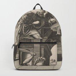 Vintage Gladiator Sword Fight Illustration (1560) Backpack