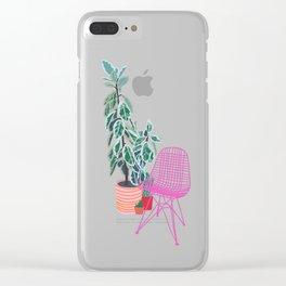 Scandi Design Tropical Interior Clear iPhone Case