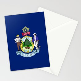 flag of the state of Maine Stationery Cards