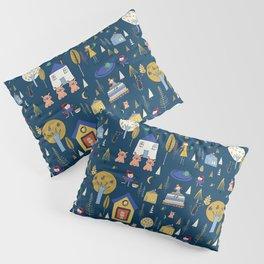 Wonderland Fairy Tale Navy Pillow Sham