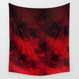 Abstract polygonal pattern.Red, black triangles. Wall Tapestry