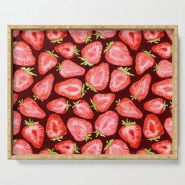 Fresh strawberry slices watercolor dark bg Serving Tray