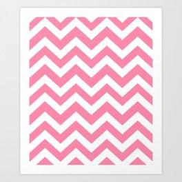 Tickle Me Pink - pink color - Zigzag Chevron Pattern Art Print