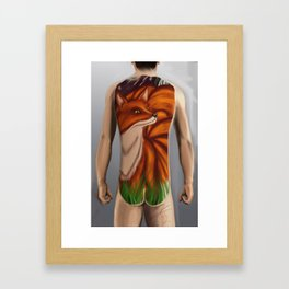 kitsune bodysuit tattoo design Framed Art Print