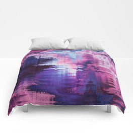 Violet Abstract Glitch effect Comforters