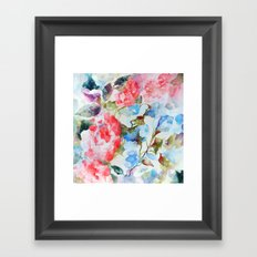 Peonies and Morning Glory Framed Art Print
