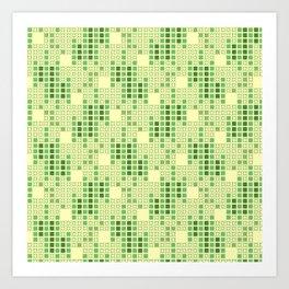 BRIXHAM, VINTAGE RETRO SQUARES: SPRING GREEN Art Print