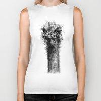ostrich Biker Tanks featuring Ostrich  by Jane Moore Art