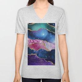 Pink Marble Galaxy Unisex V-Neck