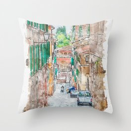 Aquarelle sketch art. Walkway on in old town in Europe, Siena, Italy Throw Pillow