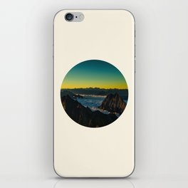 Yellow & Teal Turquoise Ombre Sunrise over Mountain Range iPhone Skin