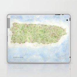 Puerto Rico watercolor map Laptop & iPad Skin