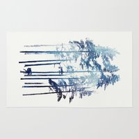 wolf Area & Throw Rugs featuring Winter Wolf by Robert Farkas