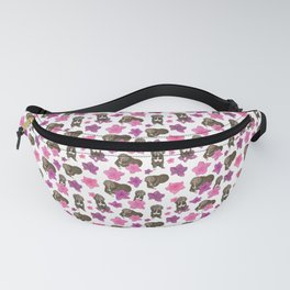 Fluffy Dogs and Blooming Azalea Floral Seamless Pattern Fanny Pack