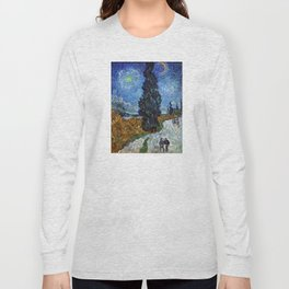 Vincent van Gogh - Road with Cypress and Star Long Sleeve T-shirt