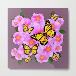 PINK ROSES YELLOW MONARCH PUCE ART Metal Print