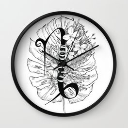 Capricorn///Monstera & Jasmine Flower Wall Clock