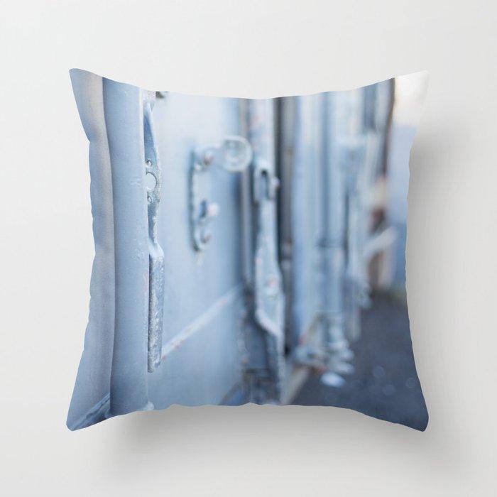 Industrial Blue Door Throw Pillow