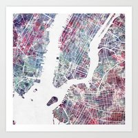 new york map Art Prints featuring New York map by MapMapMaps.Watercolors