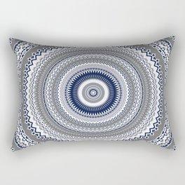 Navy Blue Grey Bohemian Mandala Rectangular Pillow